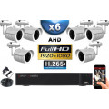 KIT PRO AHD 6 Caméras Tubes IR 20m SONY FULL HD 1080P + Enregistreur DVR AHD FULL HD 2000 Go / Pack de vidéo surveillance