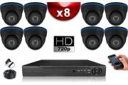 KIT ECO AHD : 8 Caméras Dômes CMOS HD 720P + Enregistreur XVR H265+ 1000 Go / Pack de vidéo surveillance