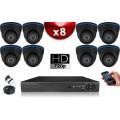 KIT ECO 8 Caméras Dômes CMOS + Enregistreur DVR 1000 Go / Pack de vidéo surveillance