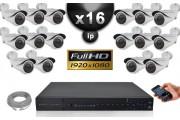 Kit Vidéo Surveillance PRO IP : 16x Caméras Tubes IR 40M SONY 1080P Compatible IPHONE + Enregistreur NVR H264 FULL HD 3000 Go
