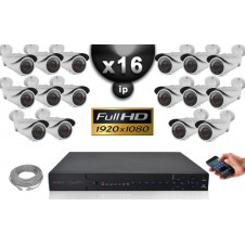 Kit Vidéo Surveillance PRO IP : 16x Caméras Tubes IR 40M Capteur SONY 1080P + Enregistreur NVR H264 FULL HD 3000 Go
