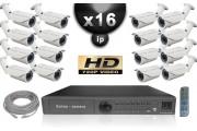 KIT VIDÉO SURVEILLANCE PRO IP : 16X CAMÉRAS POE TUBES IR 40M OMNIVISION 720P + ENREGISTREUR NVR 16 CANAUX H264 FULL HD 2000 GO