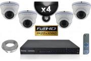 Kit Vidéo Surveillance PRO IP : 4x Caméras POE Dômes IR 35M SONY 1080P + Enregistreur NVR 24 canaux H264 FULL HD 3000 Go