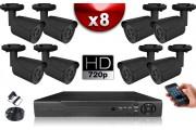KIT ECO AHD : 8 Caméras Tubes CMOS HD 720P + Enregistreur DVR AHD 1000 Go / Pack de vidéo surveillance
