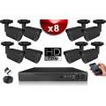 KIT ECO 8 Caméras Tubes CMOS + Enregistreur DVR 1000 Go / Pack de vidéo surveillance