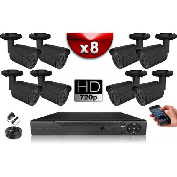 KIT ECO AHD : 8 Caméras Tubes CMOS HD 720P + Enregistreur XVR H265+ 1000 Go / Pack de vidéo surveillance