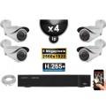 Kit Vidéo Surveillance PRO IP : 4x Caméras POE Tubes IR 40M SONY 5 MEGA-PIXELS + Enregistreur NVR 4 canaux H265 FULL HD 3000 Go