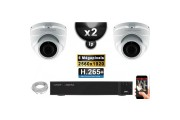 Kit Vidéo Surveillance PRO IP : 2x Caméras POE Dômes IR 35M SONY 5 MEGA-PIXELS + Enregistreur NVR 16 canaux H265 2000 Go