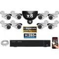 Kit Vidéo Surveillance PRO IP : 8x Caméras POE Tubes IR 40M SONY 5 MEGA-PIXELS + Enregistreur NVR 8 canaux H265 FULL HD 3000 Go