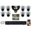 Kit Vidéo Surveillance PRO IP : 8x Caméras POE Dômes IR 35M SONY 5 MEGA-PIXELS + Enregistreur NVR 8 canaux H265 FULL HD 3000 Go