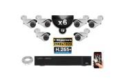 Kit Vidéo Surveillance PRO IP : 6x Caméras POE Tubes IR 40M SONY 5 MEGA-PIXELS + Enregistreur NVR 16 canaux H265 3000 Go