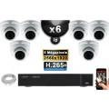 Kit Vidéo Surveillance PRO IP : 6x Caméras POE Dômes IR 35M SONY 5 MEGA-PIXELS + Enregistreur NVR 16 canaux H265 3000 Go