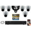 Kit Vidéo Surveillance PRO IP : 6x Caméras POE Dômes IR 35M SONY 5 MEGA-PIXELS + Enregistreur NVR 8 canaux H265 FULL HD 3000 Go