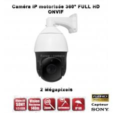Caméra de vidéo surveillance motorisée PTZ 360° IP FULL HD 1080P ONVIF IR 140M ZOOM X20 Exterieur / EC-PTZIP20X