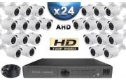 KIT PRO AHD 24 Caméras Tubes IR 20m SONY HD 960P + Enregistreur DVR AHD 3000 Go / Pack de vidéo surveillance