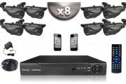 KIT CONFORT 8x Caméras Tubes 700 TVL + Enregistreur DVR 1000 Go / Pack de vidéo surveillance