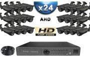 KIT PRO AHD 24 Caméras Tubes IR 40m SONY HD 960P + Enregistreur DVR AHD 3000 Go / Pack de vidéo surveillance