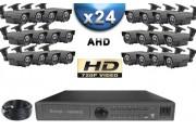 KIT PRO AHD 24 Caméras Tubes IR 60m SONY HD 960P + Enregistreur DVR AHD 3000 Go / Pack de vidéo surveillance