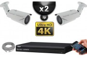 Kit Vidéo Surveillance PRO IP : 2x Caméras POE Tubes IR 40M SONY UHD 4K + Enregistreur NVR 8 canaux H264 UHD 4K 2000 Go