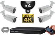Kit Vidéo Surveillance PRO IP : 4x Caméras POE Tubes IR 40M SONY UHD 4K + Enregistreur NVR 8 canaux H265 UHD 4K 3000 Go