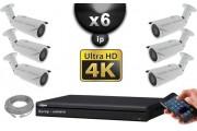 Kit Vidéo Surveillance PRO IP : 6x Caméras POE Tubes IR 40M SONY UHD 4K + Enregistreur NVR 8 canaux H265 UHD 4K 3000 Go