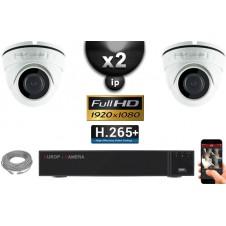 Kit Vidéo Surveillance PRO IP : 2x Caméras POE Dômes IR 20M Capteur SONY 1080P + Enregistreur NVR 8 canaux H264 FULL HD 2000 Go
