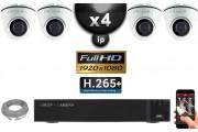 Kit Vidéo Surveillance PRO IP : 4x Caméras POE Dômes IR 20M Capteur SONY 1080P + Enregistreur NVR 9 canaux H265+ 2000 Go