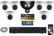 Kit Vidéo Surveillance PRO IP : 6x Caméras POE Dômes IR 20M SONY 1080P + Enregistreur NVR 24 canaux H264 FULL HD 3000 Go