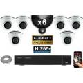 Kit Vidéo Surveillance PRO IP : 6x Caméras POE Dômes IR 20M Capteur SONY 1080P + Enregistreur NVR 16 canaux H265+ 3000 Go