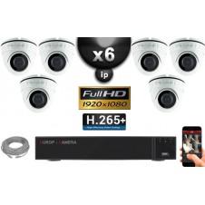 Kit Vidéo Surveillance PRO IP : 6x Caméras POE Dômes IR 20M Capteur SONY 1080P + Enregistreur NVR 32 canaux H264 FULL HD 3000 Go