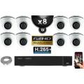 Kit Vidéo Surveillance PRO IP : 8x Caméras POE Dômes IR 20M Capteur SONY 1080P + Enregistreur NVR 16 canaux H265+ 3000 Go