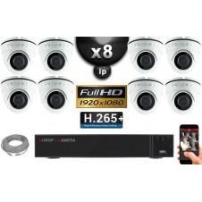 Kit Vidéo Surveillance PRO IP : 8x Caméras POE Dômes IR 20M Capteur SONY 1080P + Enregistreur NVR 32 canaux H264 FULL HD 3000 Go
