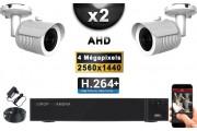 KIT PRO AHD 2 Caméras Tubes IR 20m 4 MegaPixels + Enregistreur DVR AHD 4 MegaPixels 1000 Go / Pack de vidéo surveillance