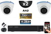 KIT PRO AHD 2 Caméras Dômes IR 20m 4 MegaPixels + Enregistreur DVR AHD 4 MegaPixels 1000 Go / Pack de vidéo surveillance