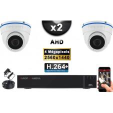 KIT PRO AHD 2 Caméras Dômes IR 20m 4 MegaPixels + Enregistreur XVR 5MP H264+ 1000 Go / Pack de vidéo surveillance