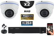 KIT PRO AHD 2 Caméras Dômes IR 35m 4 MegaPixels + Enregistreur XVR 5MP H264+ 1000 Go / Pack de vidéo surveillance