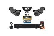 KIT PRO AHD 2 Caméras Tubes IR 40m 4 MegaPixels + Enregistreur XVR 5MP H264+ 1000 Go / Pack de vidéo surveillance