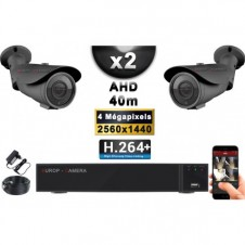 KIT PRO AHD 2 Caméras Tubes IR 40m 4 MegaPixels + Enregistreur DVR AHD 4 MegaPixels 1000 Go / Pack de vidéo surveillance