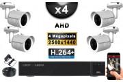 KIT PRO AHD 4 Caméras Tubes IR 20m 4 MegaPixels + Enregistreur DVR AHD 4 MegaPixels 2000 Go / Pack de vidéo surveillance