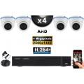 KIT PRO AHD 4 Caméras Dômes IR 20m 4 MegaPixels + Enregistreur DVR AHD 4 MegaPixels 2000 Go / Pack de vidéo surveillance