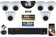KIT PRO AHD 6 Caméras Dômes IR 20m 4 MegaPixels + Enregistreur XVR 5MP H264+ 2000 Go / Pack de vidéo surveillance