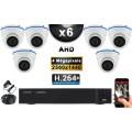 KIT PRO AHD 6 Caméras Dômes IR 20m 4 MegaPixels + Enregistreur DVR AHD 4 MegaPixels 2000 Go / Pack de vidéo surveillance