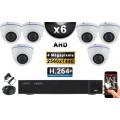 KIT PRO AHD 6 Caméras Dômes IR 35m 4 MegaPixels + Enregistreur DVR AHD 4 MegaPixels 2000 Go / Pack de vidéo surveillance