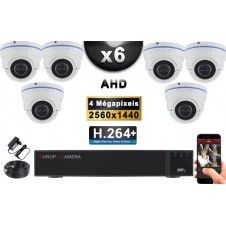 KIT PRO AHD 6 Caméras Dômes IR 35m 4 MegaPixels + Enregistreur XVR 5MP H264+ 2000 Go / Pack de vidéo surveillance