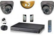 KIT PRO 2x Caméras Dômes 700 TVL + Enregistreur DVR 500 Go FULL D1 / Pack de vidéo surveillance professionnel
