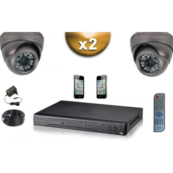 pack video surveillance professionnel full 960h d1 2 cameras domes compatible iphone. Black Bedroom Furniture Sets. Home Design Ideas