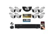 KIT PRO AHD 8 Caméras Tubes IR 30m 4 MegaPixels + Enregistreur XVR 5MP H264+ 3000 Go / Pack de vidéo surveillance