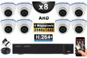 KIT PRO AHD 8 Caméras Dômes IR 20m 4 MegaPixels + Enregistreur DVR AHD 4 MegaPixels 3000 Go / Pack de vidéo surveillance