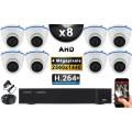 KIT PRO AHD 8 Caméras Dômes IR 20m 4 MegaPixels + Enregistreur DVR XVR 5MP H264+ 3000 Go / Pack de vidéo surveillance