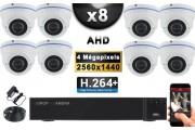 KIT PRO AHD 8 Caméras Dômes IR 35m 4 MegaPixels + Enregistreur DVR AHD 4 MegaPixels 3000 Go / Pack de vidéo surveillance